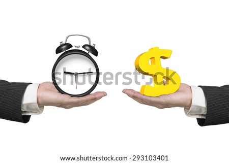 Dollar sign on one hand and alarm clock on another hand, isolated on white, concept of deal and time. - stock photo