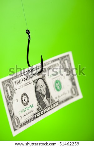 Dollar sign on piece of paper on hook - stock photo