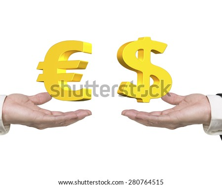 Dollar sign on right hand and Euro symbol on left hand, foreign exchange concepts. - stock photo