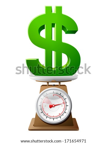 Dollar sign on scale pan. Weighing money symbol on scales. Qualitative illustration for banking, financial industry, economy, accounting, etc - stock photo