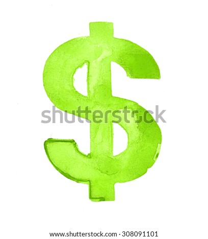 Dollar sign on white background - stock photo