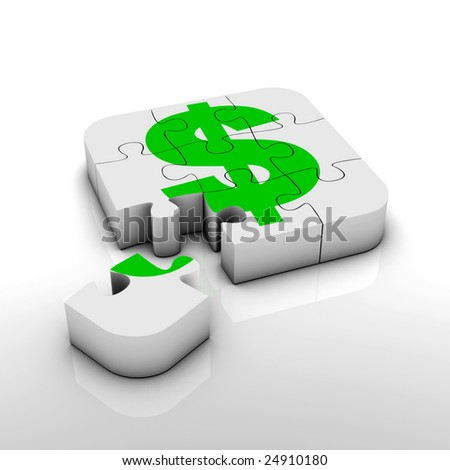 dollar sign puzzle - stock photo