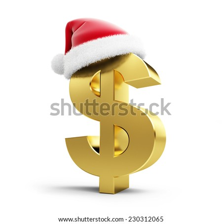 dollar sign santa hat on a white background - stock photo