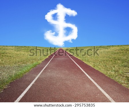 Dollar sign shape cloud in blue sky, with dark red running track and grass. - stock photo