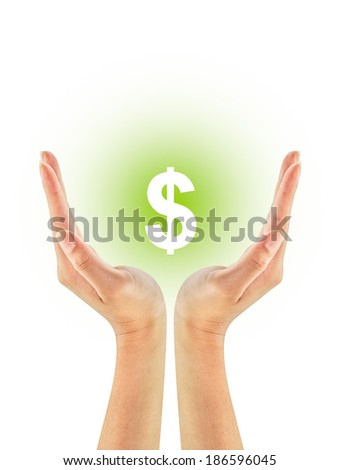Dollar sign shape on woman hands isolated on white background - stock photo