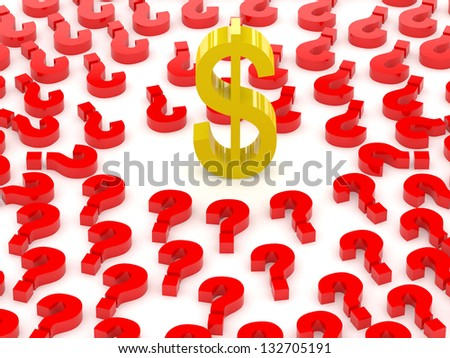 Dollar sign surrounded by question marks. Concept 3D illustration. - stock photo