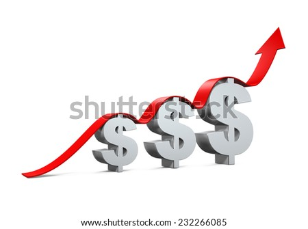 Dollar Sign With Growing Up Arrow - stock photo