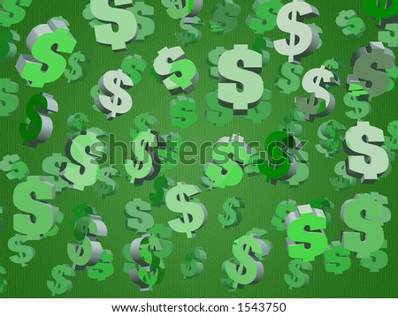 Dollar signs floating on a green background with numbers. - stock photo