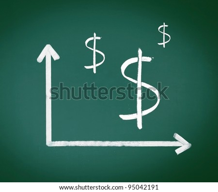 Dollar Signs with two geometrical axes showing in chalk on a green chalkboard - stock photo