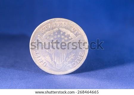 Dollar silver coin - stock photo