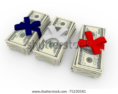 dollar stack isolated on white background