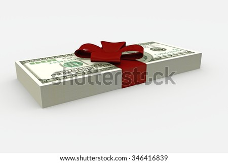 dollar stack with red ribbon isolated on white background