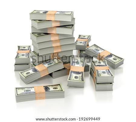 dollar stacks isolated on white background. 3d illustration. - stock photo