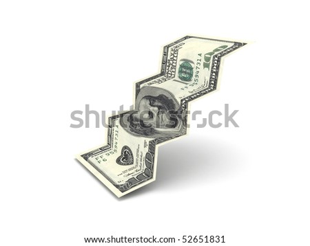 Dollar stairs isolated on white background. High quality 3d render. - stock photo
