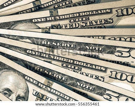 Dollar surface. Savings in cash wallpaper. Profit in the new year backdrop. Financial background