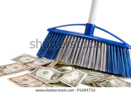 dollar sweeper isolated on white , selective focus - stock photo