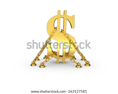dollar symbol chained to the floor. perfect for advertising models. save in days of sales - stock photo