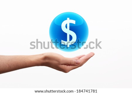 Dollar Symbol in Blue sphere on hand