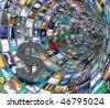 Dollar Symbol in TV Tunnel - stock photo