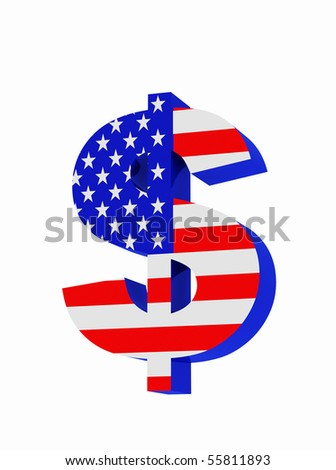Dollar symbol isolated over a white background.