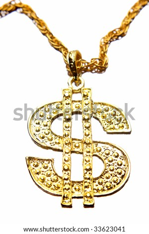 Dollar symbol necklace - stock photo