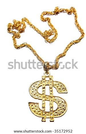 Dollar symbol necklace isolated on white - stock photo