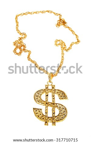 Dollar symbol necklace on plain background