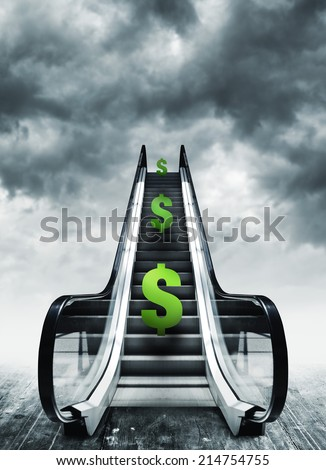 Dollar symbol on escalators. Currency concept, inflation and deflation, finance and exchange rate. - stock photo
