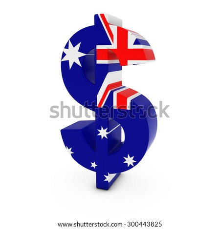 Dollar Symbol textured with the Australian Flag Isolated on White Background - stock photo