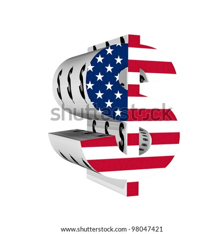 Dollar symbol with US flag 3D isolated on white background