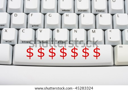 Dollar Symbols Red On Computer Keyboard Stock Photo 45283324