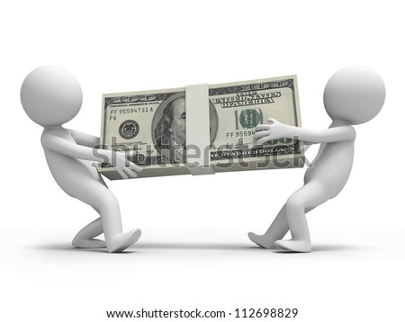 Dollar/two people carry a bundle of dollars - stock photo