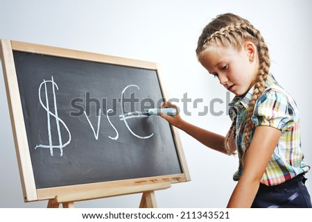 Dollar versus Euro. Time to learn about money.  - stock photo