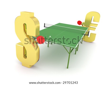 Dollar vs Euro competition concept. Hi-res digitally generated image. - stock photo