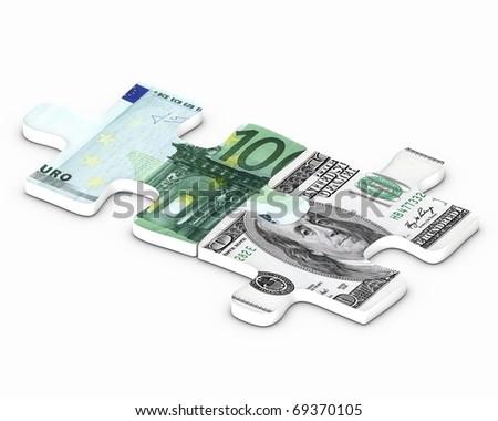 Dollar vs euro puzzle - stock photo