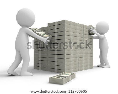 Dollar/wall/two people framing a wall with bundles of dollars - stock photo