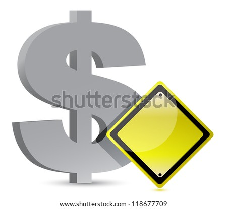 dollar warning yellow sign illustration design over white - stock photo