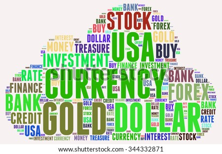 Dollar word cloud sign, business concept