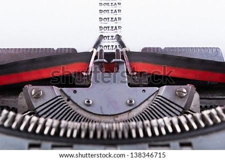 Dollar written on an old typewriter . - stock photo