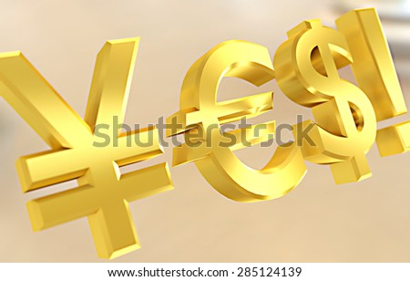 Dollar, yen and euro symbols forming a YES word.