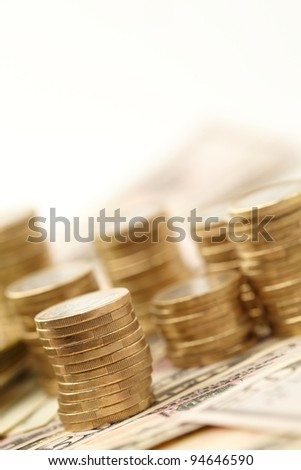 dollars and coins - stock photo
