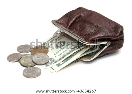 Dollars and coins in brown leather pouch on white background