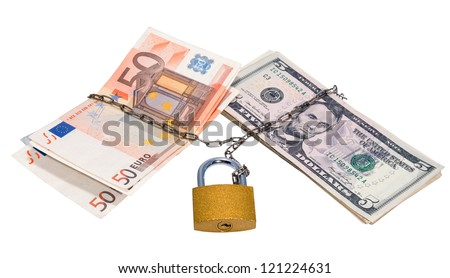 Dollars and euros related to closed chain and padlock. - stock photo