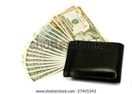 Dollars and pouch, isolated, white background