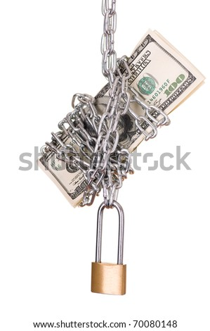Dollars are closed on the padlock and a chain - stock photo