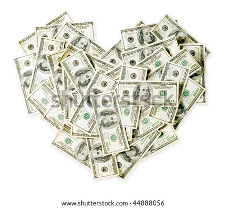 Dollars as heart on white background (isolated with path).