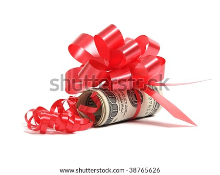 Dollars as present over white - stock photo