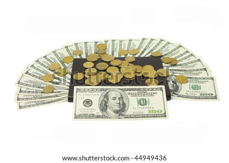 dollars bank notec with notepad on a wgite background - stock photo