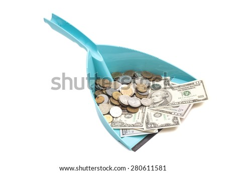dollars banknote with coins in blue dustpan isolated on white - stock photo