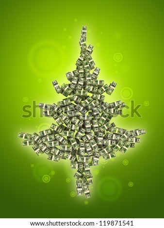 Dollars banknotes made as Christmas tree on green background - stock photo